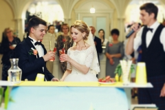 Beautiful blonde bride and handsome groom drinking cocktails at bar stand reception